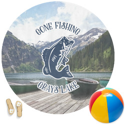 Gone Fishing Round Beach Towel (Personalized)