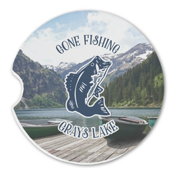 Gone Fishing Sandstone Car Coasters (Personalized)