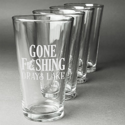 Gone Fishing Beer Glasses (Set of 4) (Personalized)