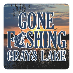 Gone Fishing Square Decal (Personalized)