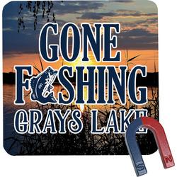 Gone Fishing Square Fridge Magnet (Personalized)