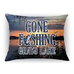 Gone Fishing Rectangular Throw Pillow Case (Personalized)