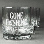 Gone Fishing Whiskey Glasses (Set of 4) (Personalized)