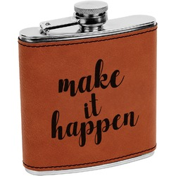 Inspirational Quotes and Sayings Leatherette Wrapped Stainless Steel Flask (Personalized)