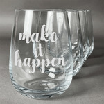 Inspirational Quotes and Sayings Stemless Wine Glasses (Set of 4) (Personalized)