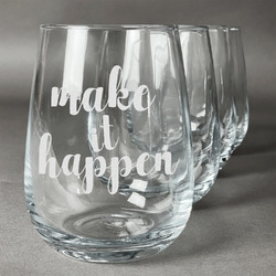 Inspirational Quotes and Sayings Wine Glasses (Stemless- Set of 4) (Personalized)