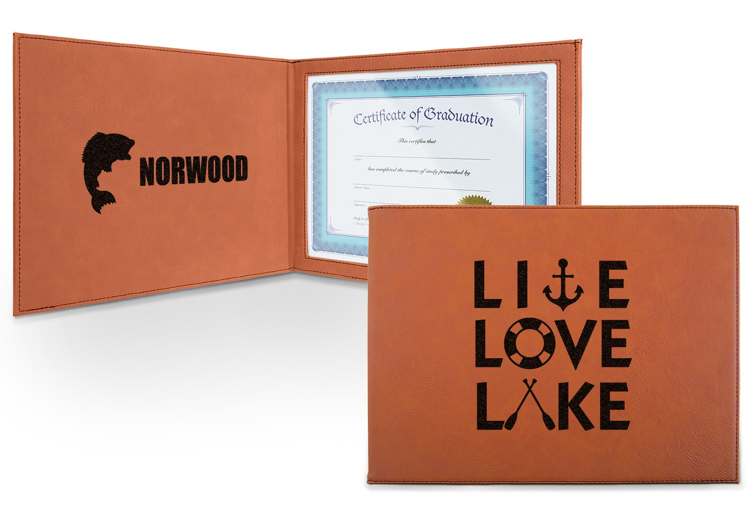 Lake House Quotes and Sayings Cognac Leatherette Certificate Holder