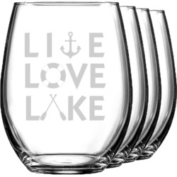 Lake House Quotes and Sayings Wine Glasses (Stemless- Set of 4) (Personalized)