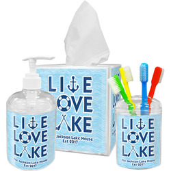 Live Love Lake Acrylic Bathroom Accessories Set w/ Name or Text