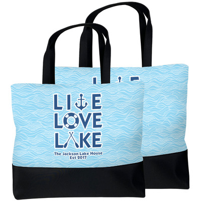 Live Love Lake Beach Tote Bag (Personalized)