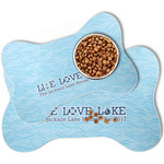 Live Love Lake Bone Shaped Dog Food Mat (Personalized)