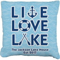 Live Love Lake Faux-Linen Throw Pillow (Personalized)