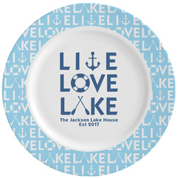 Live Love Lake Ceramic Dinner Plates (Set of 4) (Personalized)