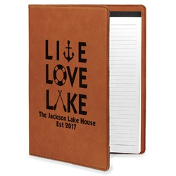 Live Love Lake Leatherette Portfolio with Notepad (Personalized)