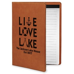 Live Love Lake Leatherette Portfolio with Notepad - Small - Single Sided (Personalized)