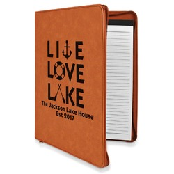 Live Love Lake Leatherette Zipper Portfolio with Notepad (Personalized)