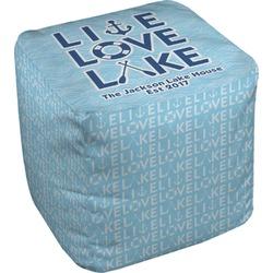 """Live Love Lake Cube Pouf Ottoman - 18"""" (Personalized)"""