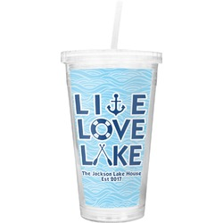 Live Love Lake Double Wall Tumbler with Straw (Personalized)