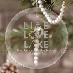 Live Love Lake Engraved Glass Ornament (Personalized)