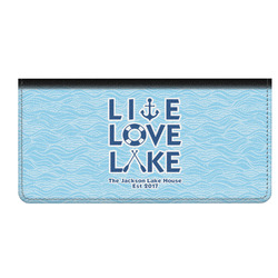 Live Love Lake Genuine Leather Checkbook Cover (Personalized)