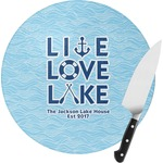 Live Love Lake Round Glass Cutting Board (Personalized)
