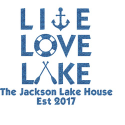 Live Love Lake Glitter Sticker Decal - Custom Sized (Personalized)