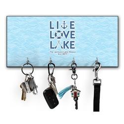 Live Love Lake Key Hanger w/ 4 Hooks w/ Name or Text