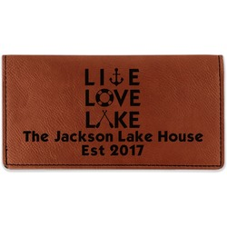 Live Love Lake Leatherette Checkbook Holder (Personalized)