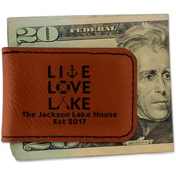 Live Love Lake Leatherette Magnetic Money Clip (Personalized)