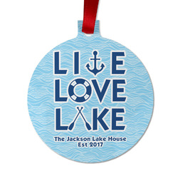 Live Love Lake Metal Ball Ornament - Double Sided w/ Name or Text
