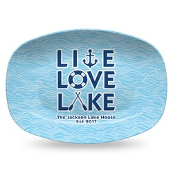 Live Love Lake Plastic Platter - Microwave & Oven Safe Composite Polymer (Personalized)