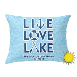 Live Love Lake Outdoor Throw Pillow (Rectangular) (Personalized)