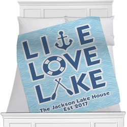 "Live Love Lake Fleece Blanket - Queen / King - 90""x90"" - Single Sided (Personalized)"