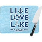 Live Love Lake Rectangular Glass Cutting Board (Personalized)