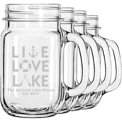 Live Love Lake Mason Jar Mugs (Set of 4) (Personalized)