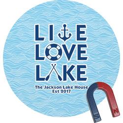 Live Love Lake Round Fridge Magnet (Personalized)