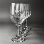 Live Love Lake Wine Glasses (Set of 4) (Personalized)