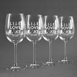 Live Love Lake Wine Glasses (Set of 4) (Personalized)