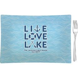 Live Love Lake Glass Rectangular Appetizer / Dessert Plate - Single or Set (Personalized)