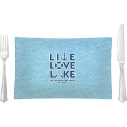 Live Love Lake Glass Rectangular Lunch / Dinner Plate - Single or Set (Personalized)