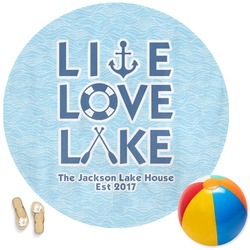 Live Love Lake Round Beach Towel (Personalized)