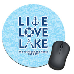 Live Love Lake Round Mouse Pad (Personalized)