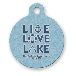 Live Love Lake Round Pet Tag (Personalized)