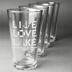 Live Love Lake Beer Glasses (Set of 4) (Personalized)