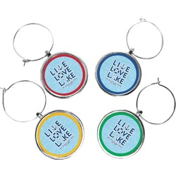 Live Love Lake Wine Charms (Set of 4) (Personalized)