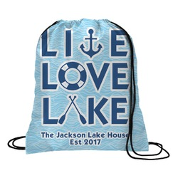 Live Love Lake Drawstring Backpack (Personalized)