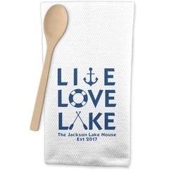 Live Love Lake Waffle Weave Kitchen Towel (Personalized)