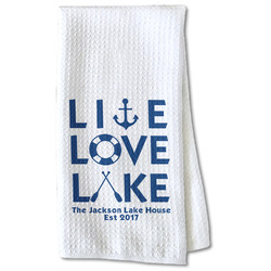 Live Love Lake Waffle Weave Kitchen Towel - Partial Print (Personalized)
