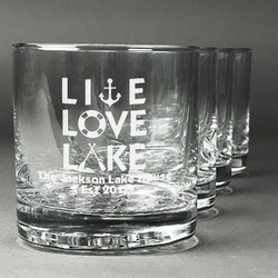 Live Love Lake Whiskey Glasses (Set of 4) (Personalized)