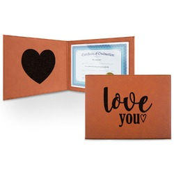 Love Quotes and Sayings Leatherette Certificate Holder (Personalized)